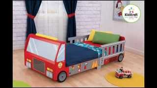 Fire Truck Toddler Bed, Made Of Wood; Toddler Bed Car, Boy Toddler Bed