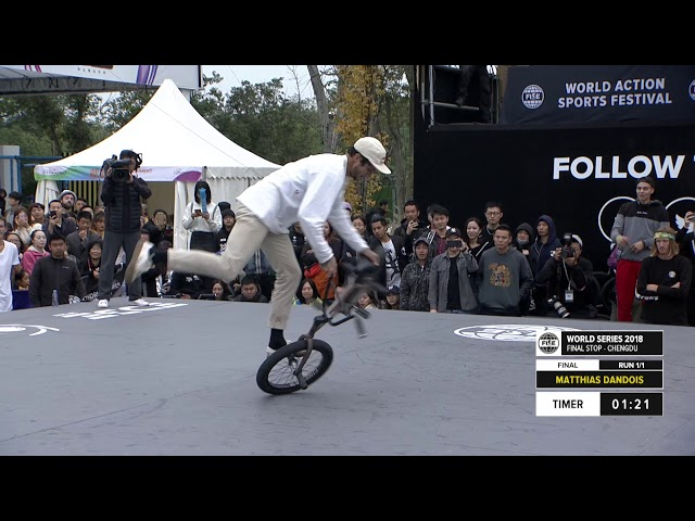 Matthias Dandois 3rd place  - UCI BMX Flatland World Cup Final | FISE World Series Chengdu 2018