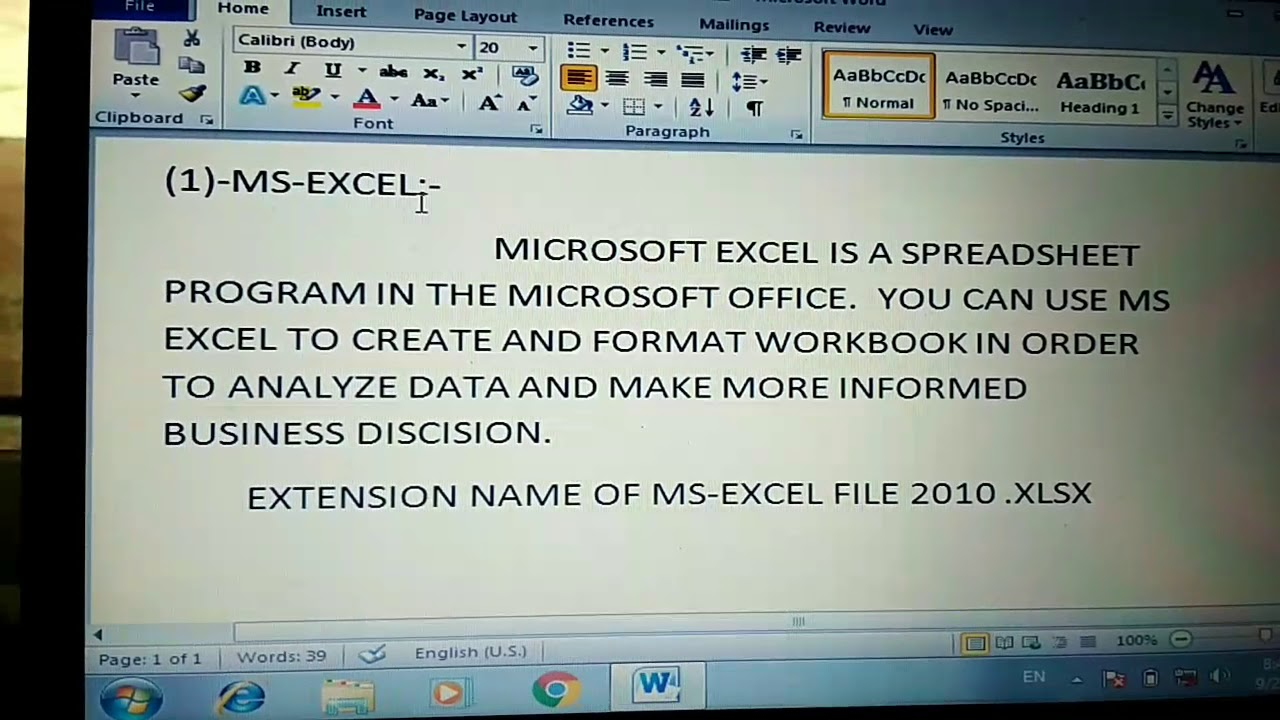 Ms Excel Definition.