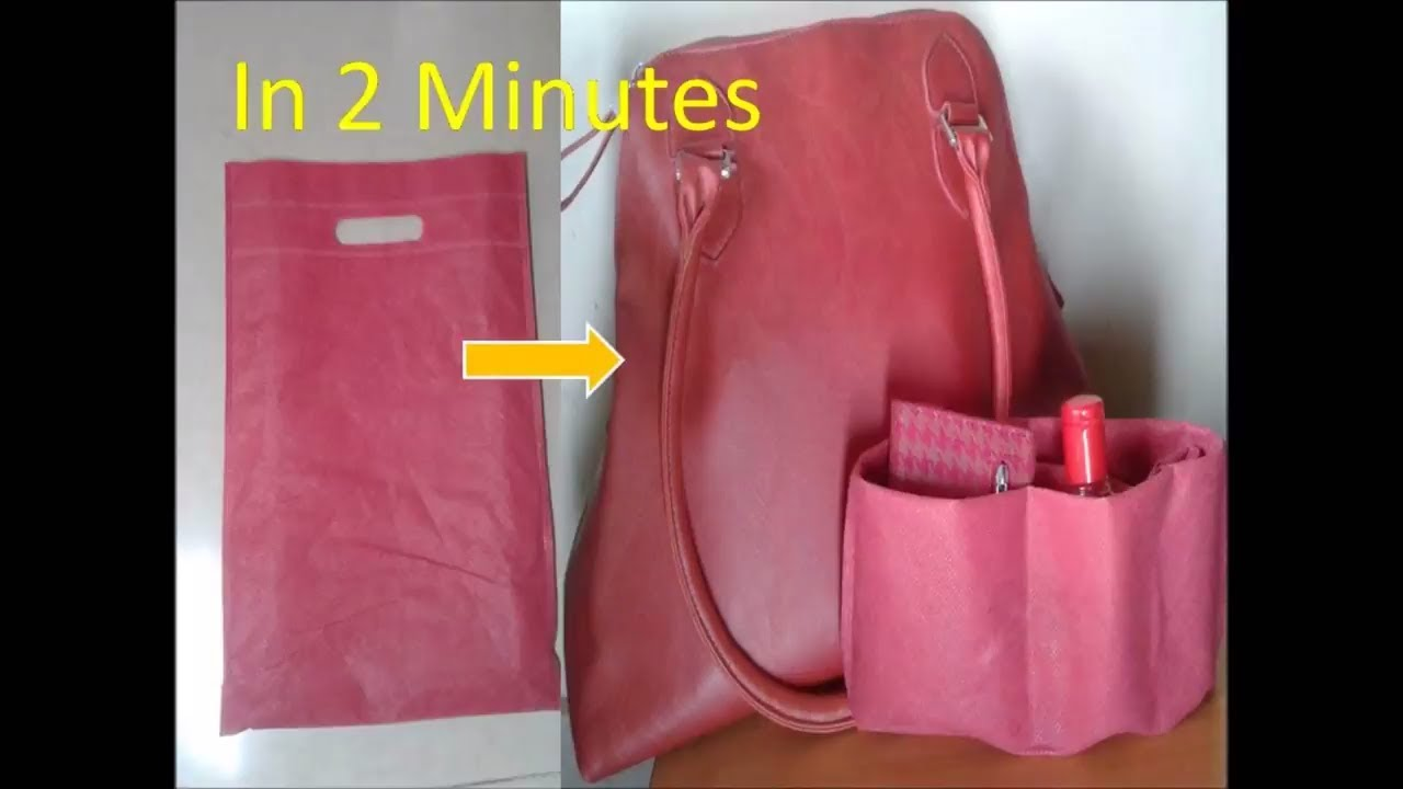 Diy handbag purse organizer using carry bag no sew in 2 minuteshow diy handbag purse organizer using carry bag no sew in 2 minuteshow to organize purse solutioingenieria Choice Image