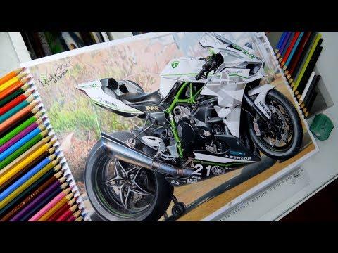 Kawasaki Ninja H2r >> Desenhando uma Moto Kawasaki H2R / Drawing a motorcycle ...