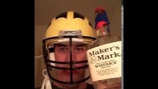 Tom Brady Drunk wearing Michigan Helmet babbling incoherently