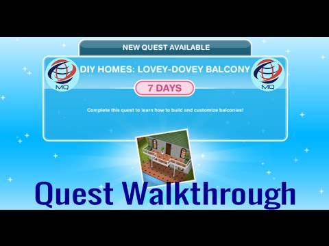 The Sims FreePlay – DIY Homes: Lovey – Dovey Balcony Discovery Quest Walkthrough