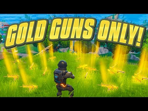 *NEW* GOLD GUNS ONLY in Fortnite Battle Royale  SOLID GOLD