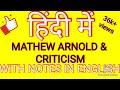 (Hindi) Mathew Arnold  # MEG-5# LITERARY CRITICISM AND THEORY # ENGLISH LITERATURE#MA ENGLISH#