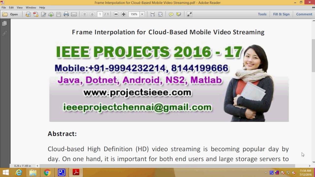 Frame Interpolation for Cloud Based Mobile Video Streaming - YouTube