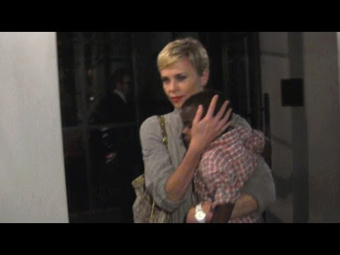Charlize Theron Dines At Spago With Adorable Son Jackson