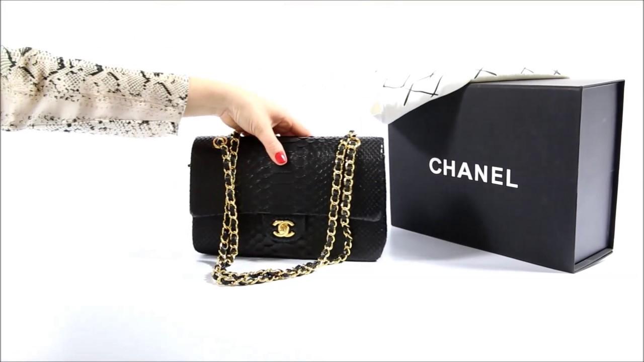 Сумка черная из кожи питона Chanel Python Classic Double Flap bag 2 55 LUX 768cd1934ff