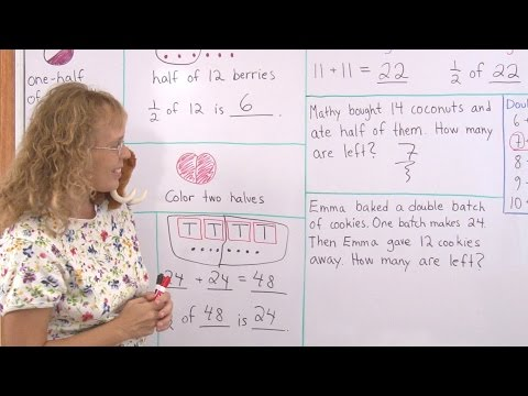 One-half of a number - easy math lesson for 2nd grade