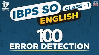 100 Error Detection | English | IBPS SO 2018 | 9:00 AM