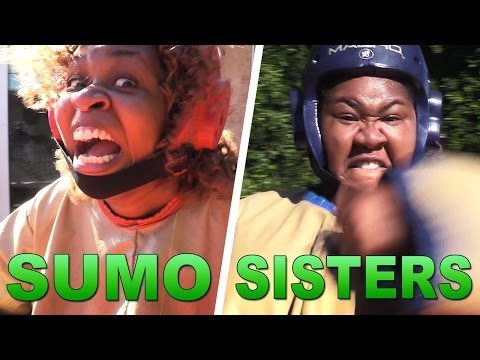 Sumo Sisters (Backyard Wrestling with GloZell and DeOnzell)