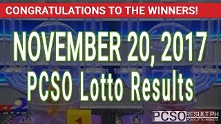 PCSO Lotto Results Today November 20, 2017 (6/55, 6/45, 4D, Swertres & EZ2)