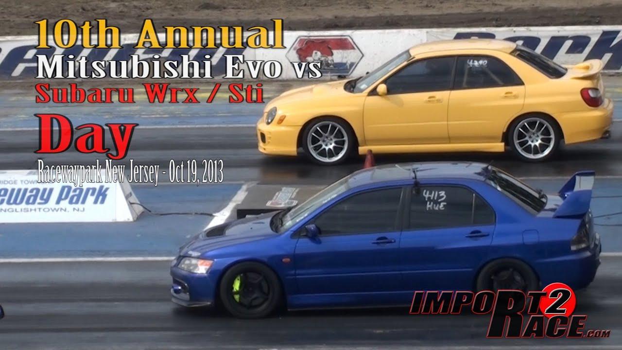 10th annual Mitsubishi EVO vs Subaru Wrx/Sti day - YouTube