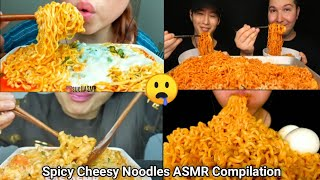 Spicy Cheesy Noodles ASMR Eating Compilation l Only Bites