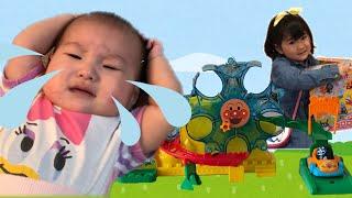 アンパンマン ゆうえんちのおもちゃで赤ちゃんのお世話ごっこ お買い物ごっこ Anpanman Amusement Park Toy