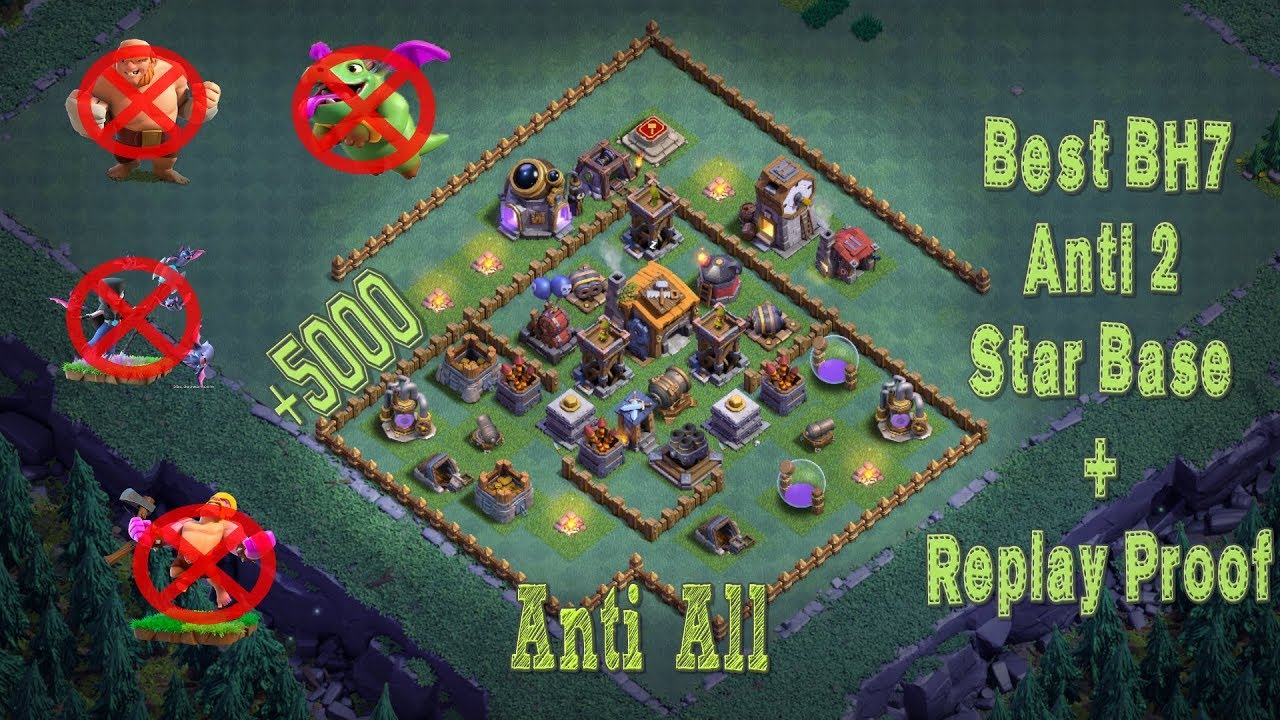 Best Builder Hall 7 Base W Proof Anti 2 Star 5000 Cups Bh7 Giant Cannon Clash Of Clans Youtube