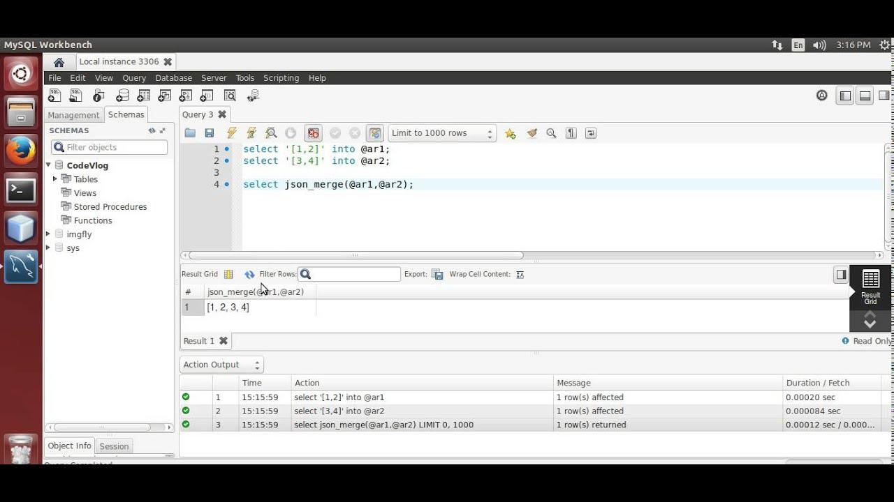 MySQL 5 7: Merge JSON data using MySQL