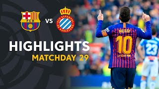 Two goals of leo messi gave the victory at fc barcelona against rcd espanyol. laliga santander 2018/2019 subscribe to official channel santande...