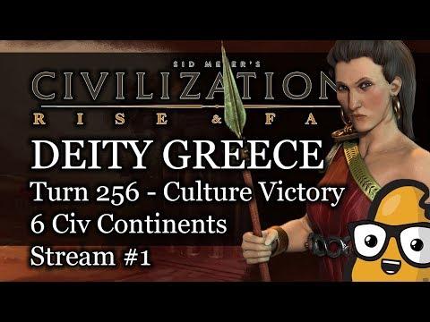 #1 - Civ 6 Livestream - Deity Greece - Turn 256 Culture Victory - 6 Civ Continents