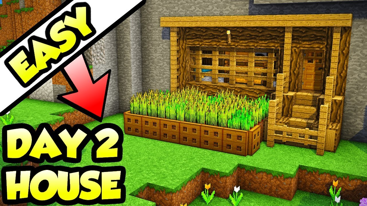 Minecraft First Day Starter Survival House Tutorial How To Build Youtube