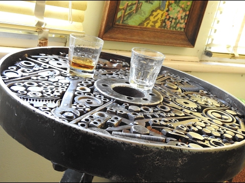 Attirant Metal Welded Bar Table Made From Scrap Metal, Leaf Springs, Iron Wheel,  Spanners, Bolts