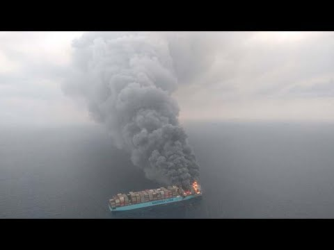 Mega Ship Caught on Fire