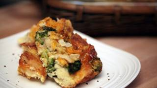 Broccoli & Cheese Bread Pudding Recipe || Kin Eats