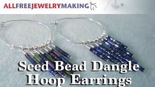 DIY Seed Bead Dangle Hoop Earrings