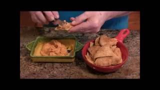 Recipe:  Red Pepper Hummus & Homemade Pita Chips (vegan)