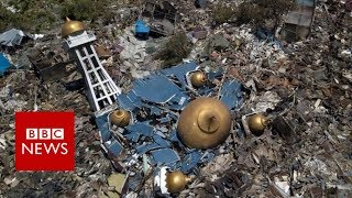 Indonesia tsunami devastation filmed from above - BBC News
