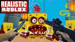 Realistic Roblox - EVIL SPONGEBOB ZOMBIE ATTACK! ROBLOX ZOMBIES!