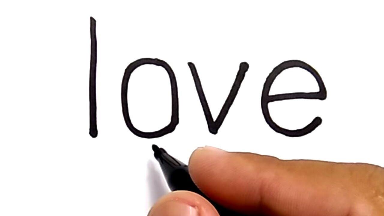 Cara Menggambar Pasangan Dengan Huruf LOVE How To Draw Couple With Word LOVE