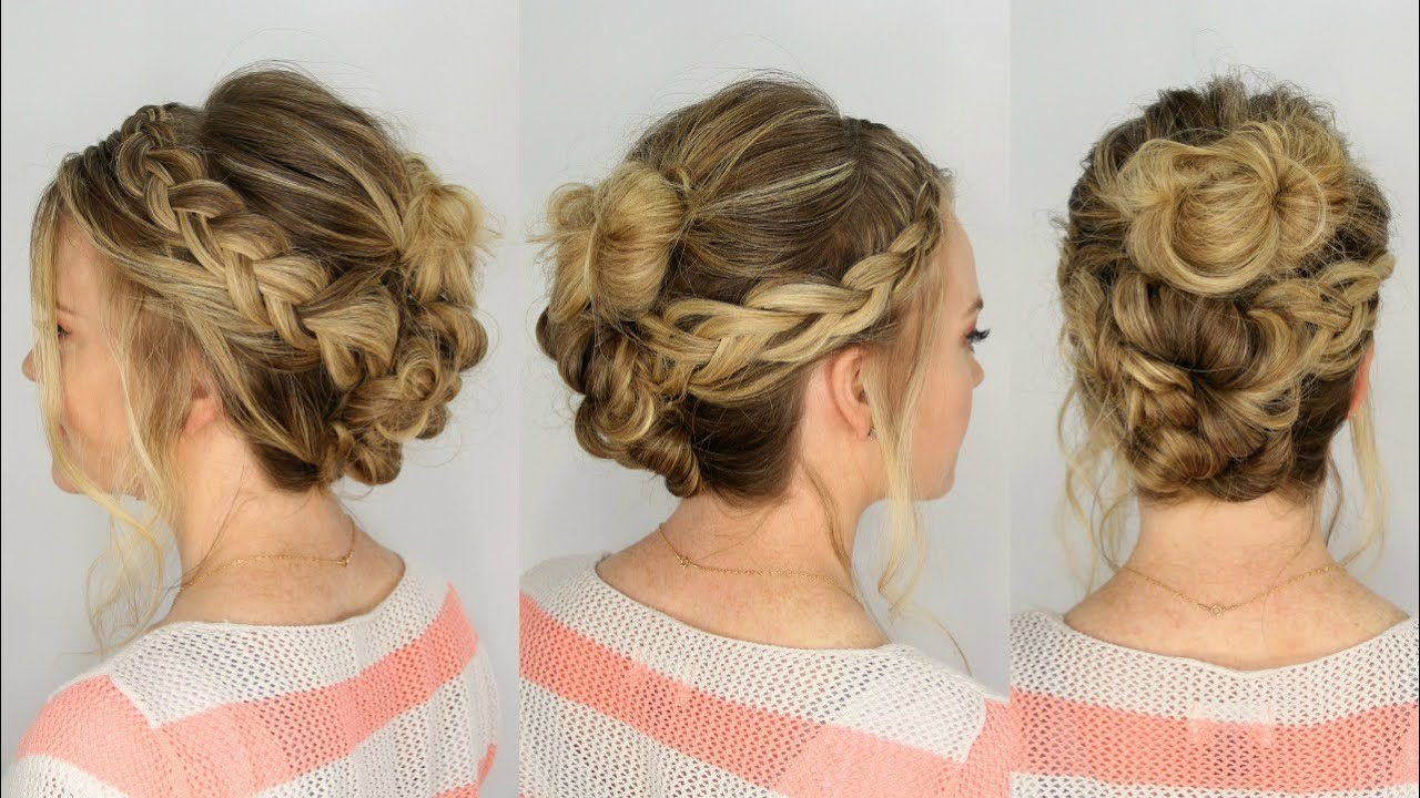 Casual Braid And Bun Updo Missy Sue Youtube