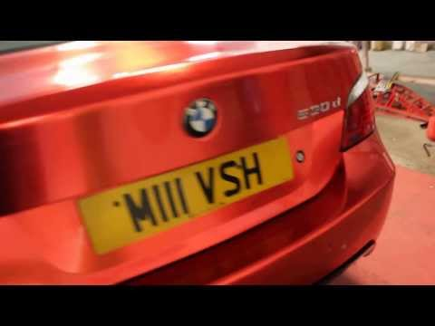 BMW E60 Vvivid Red Brushed Chrome Wrap