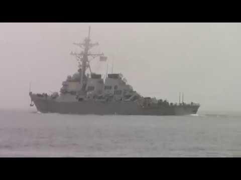 USS LABOON DDG 58 23 FEBRUARY 2018 foggy outbound Naval Station Norfolk