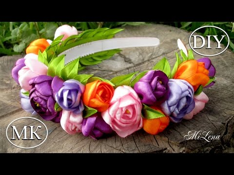 Ободок-венок с цветами, МК / DIY Hairband with Flowers / DIY Flowers Headband