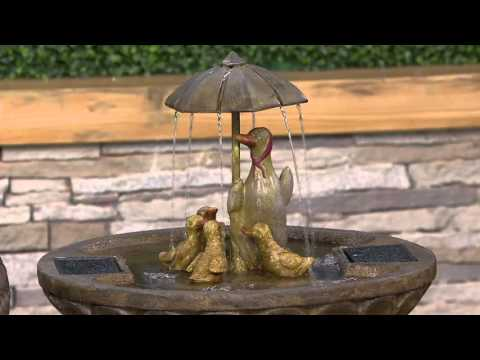 Duck Family with Umbrella Fountain by Smart Solar on QVC
