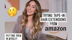HAIR EXTENSIONS I ORDERED ON AMAZON! // Putting them in myself!