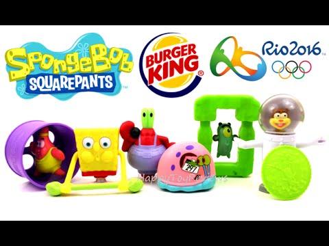 65d0dd6f80d4 2016 BURGER KING SPONGEBOB SQUAREPANTS KIDS MEAL TOYS RIO OLYMPIC GAMES COMPLETE  SET 6 KING JR TOYS