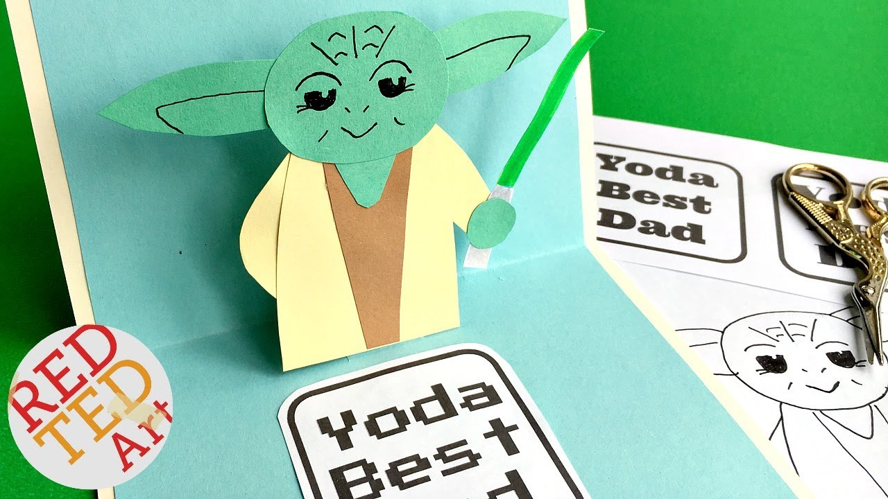 Easy Pop Up Fathers Day Card 3d Yoda Card Diy Star Wars Paper