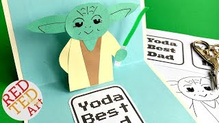 Easy Pop Up Father's Day Card - 3D Yoda Card DIY - Star Wars Paper Crafts