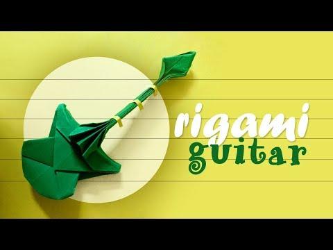 Tiny Origami Guitar   How to make a paper Guitar 🎸
