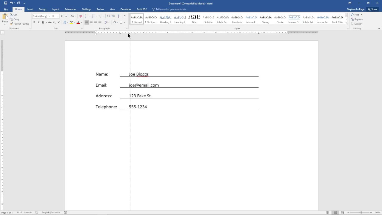 The 'Three Tabs' method for form underline creation in Microsoft Word