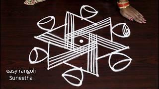 7 dots Beautiful kolam designs by easy rangoli Suneetha || new muggulu with colors