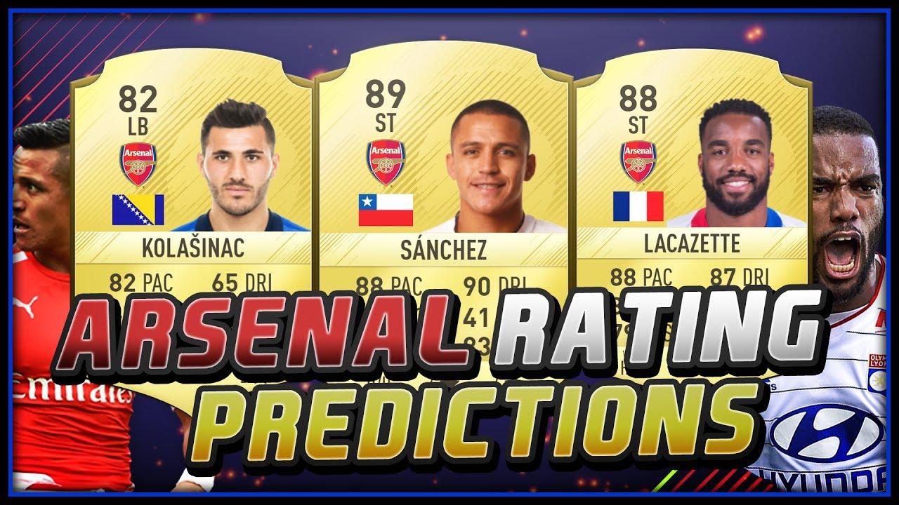 fifa 18 arsenal player ratings predictions ft lacazette sanchez fifa 18 ultimate team