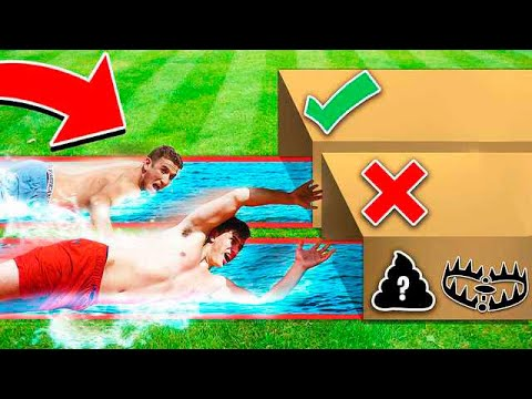 DON'T WATER SLIDE THROUGH THE WRONG MYSTERY BOX! W/ UNSPEAKABLEGAMING & 09SHARKBOY
