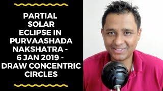 PARTIAL SOLAR ECLIPSE IN PURVAASHADA NAKSHATRA - 6 JAN 2019 - DRAW CONCENTRIC CIRCLES