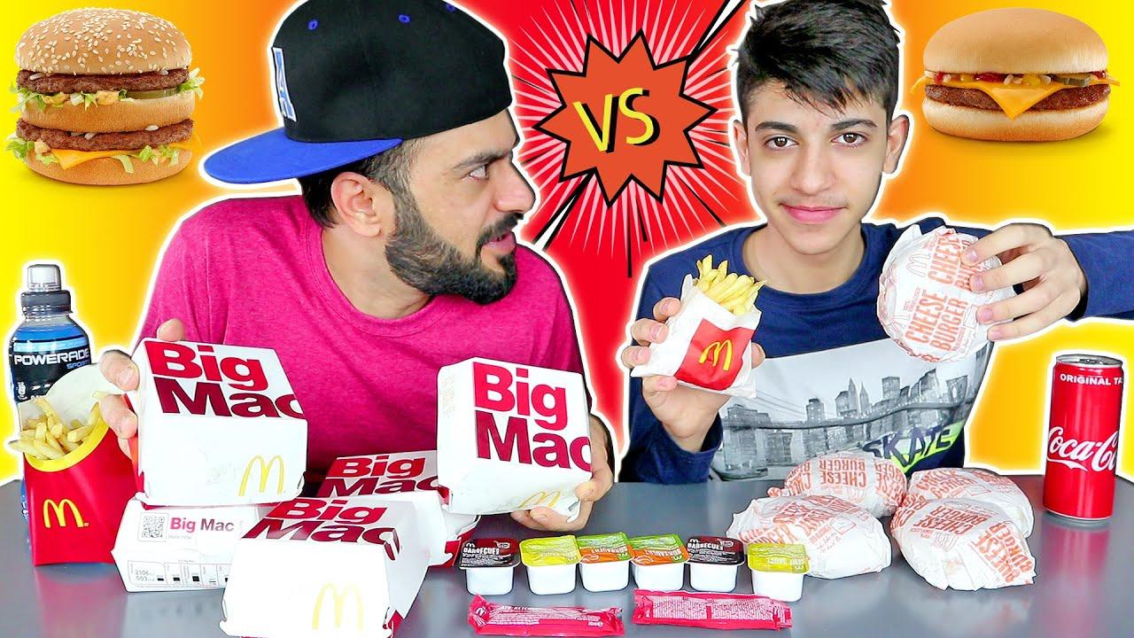 تحدي الماكدونالدز ضد امير بروز ! برغر بك ماك الكبير ضد التشيز برغر الصغير مع البطاطا المقلية 😋
