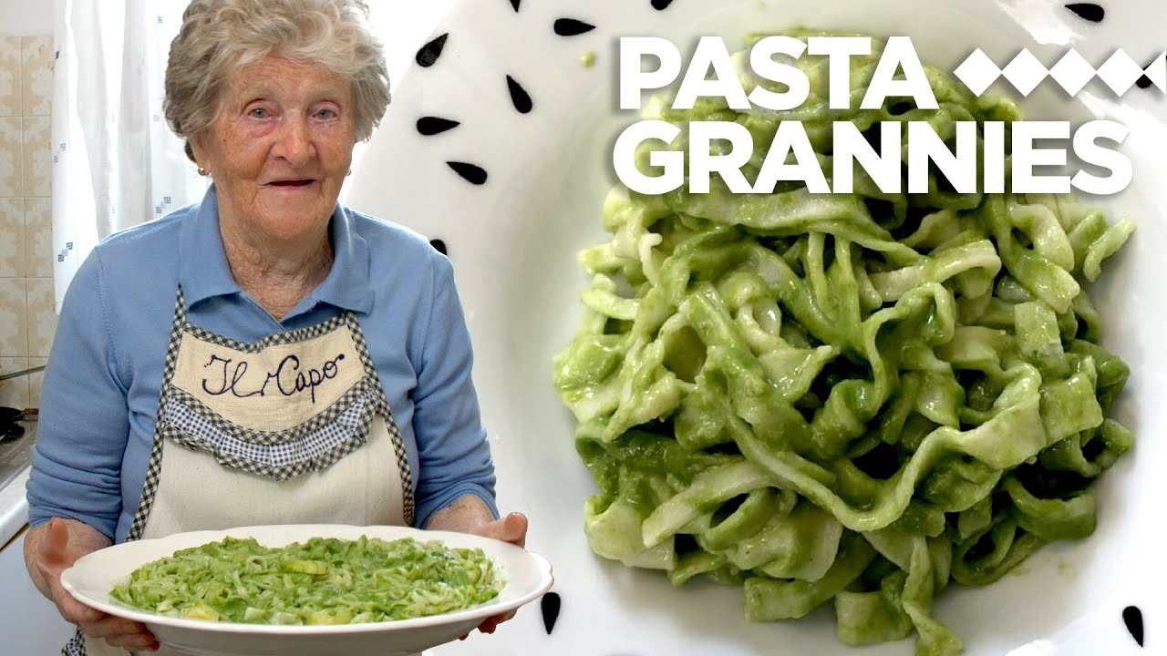 94 year old Isolina makes 'taggiaen' pasta with basil pesto! | Pasta Grannies