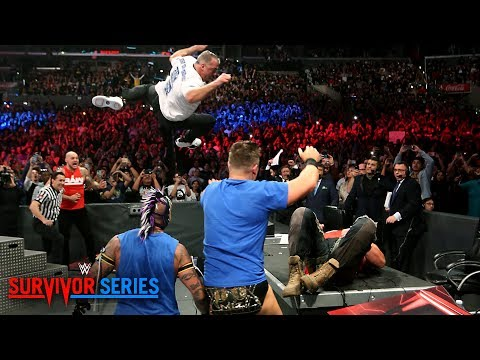 Shane McMahon elbow drops Braun Strowman through announce table: Survivor Series 2018 (WWE Network)